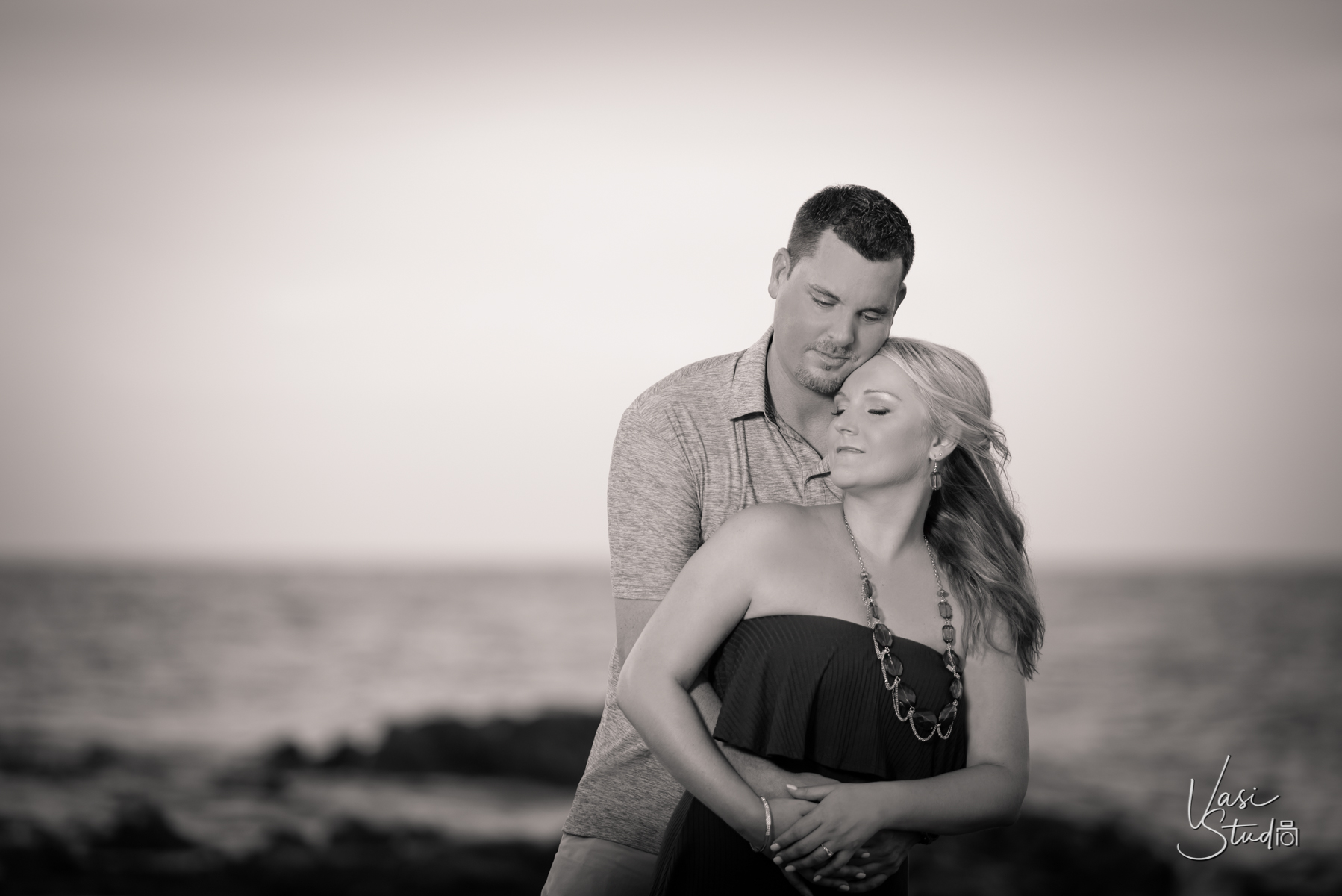 Black and white engagement photos for South Florida couples.