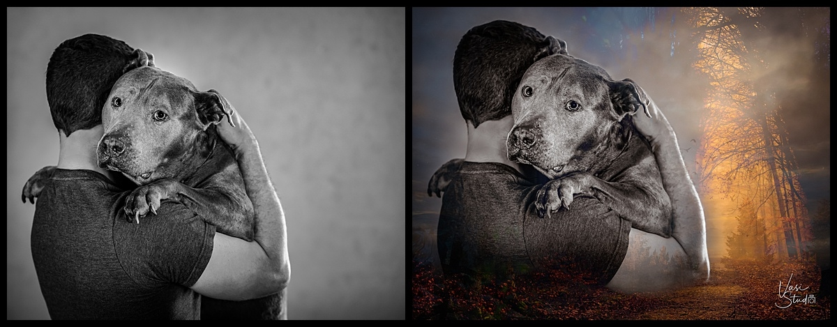 Before and after of Fine Art of a men and his doggy..